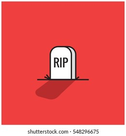 Tombstone With RIP Written On It (Line Art Icon Vector Illustration in Flat Style Design)