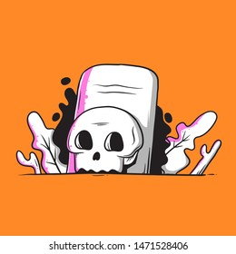 tombstone and skull illustration vector eps 10.