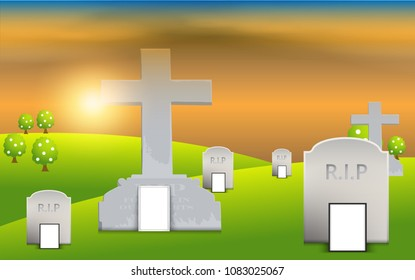 Tombstone in the tomb landscape