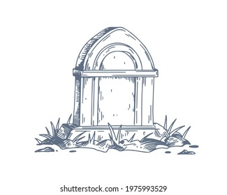 Tombstone of unmarked vintage grave. Gravestone of medieval tomb with grass. Cemetery burial hand-drawn art. Headstone sketch. Drawing vector illustration isolated on white background