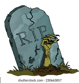 Tombstone with Zombie Hand - vector image