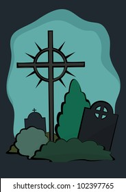 Tombstones with Cross on a vector illustration.