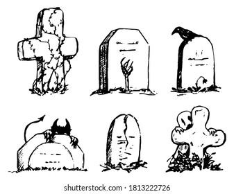 Tombstones with monsters, halloween doodles set. Hand drawn vector illustration. Collection of black contour drawing isolated on white. Elements for holiday design