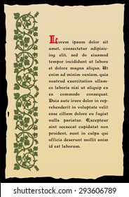Tome page in a medieval style. Place for text. Floral frame of interwoven stems, foliage and flowers. Vector edging, design element and page decoration. Vector retro background