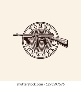 Tommy Gun Vector Logo Engraving Design