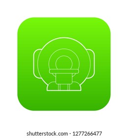 Tomograph icon green vector isolated on white background