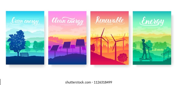 Tomorrow's clean energy equipment on nature landscape. Eco electricity design for poster, magazine, brochure, booklet. Ecological technology flyer background