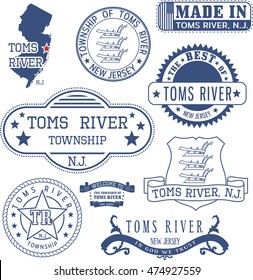Toms River township, New Jersey. Set of generic stamps and signs.