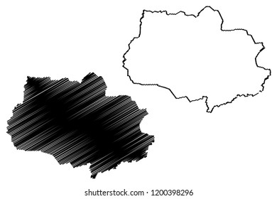 Tomsk Oblast (Russia, Subjects of the Russian Federation, Oblasts of Russia) map vector illustration, scribble sketch Tomsk Oblast map