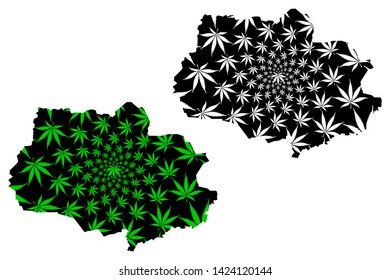 Tomsk Oblast (Russia, Subjects of the Russian Federation, Oblasts of Russia) map is designed cannabis leaf green and black, Tomsk Oblast map made of marijuana (marihuana,THC) foliage,