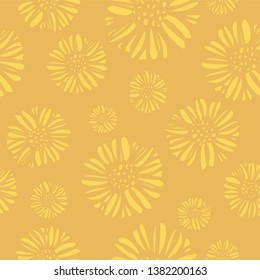Tonal daisy abstract seamless pattern in yellow and gold. Great floral background for packaging, stationery, invitations and cards.
