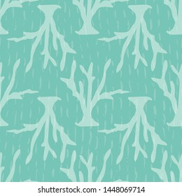 Tonal undersea corals seamless pattern with a textured sea green background. Pretty for beach house interiors, coastal decor, textiles, fashion, stationery and product packaging. Sophisticated vector.