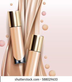 Tone skin cream bottle. Glamorous foundation ads, glass bottle with foundation.Elegant ads for design, 3d Vector illustration