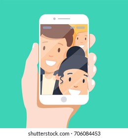 Toned. Picture of best friends making selfie on mobile or smart phone while spending free time. People Group Taking Selfie Photo Hipster Friends Flat Vector Illustration - stock vector
