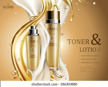 toner and lotion with golden and white fluid elements, 3d illustration
