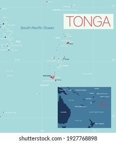 Tonga detailed editable map with cities and towns, geographic sites. Vector EPS-10 file