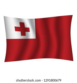 Tonga flag background with cloth texture.Tonga Flag vector illustration eps10. - Vector