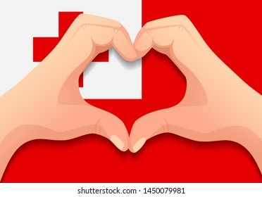 Tonga flag and hand heart shape. Patriotic background. National flag of Tonga vector illustration
