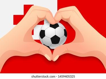 Tonga flag and hand heart shape. National football background. Soccer ball with flag of Tonga vector illustration