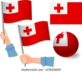 Tonga flag in hand set. Ball flag. National flag of Tonga vector illustration