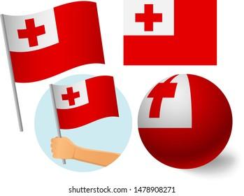 Tonga flag icon set. National flag of Tonga vector illustration