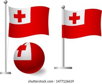 Tonga flag on pole and ball. Metal flagpole. National flag of Tonga vector illustration