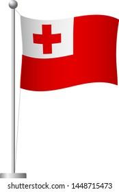 Tonga flag on pole. Metal flagpole. National flag of Tonga vector illustration