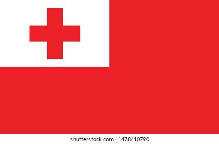 Tonga  flag. Simple vector. National flag of Tonga