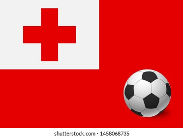 Tonga flag and soccer ball. National football background. Soccer ball with flag of Tonga vector illustration