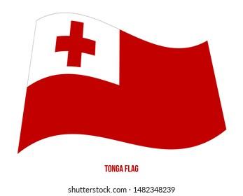 Tonga Flag Waving Vector Illustration on White Background. Tonga National Flag.
