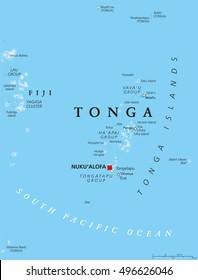 Tonga map with capital Nukualofa. Kingdom, sovereign state and archipelago in Polynesia with the main island Tongatapu. Known as the Friendly Island. English labeling. Illustration.