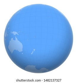 Tonga on the globe. Earth centered at the location of the Kingdom of Tonga. Map of Tonga. Includes layer with capital cities.