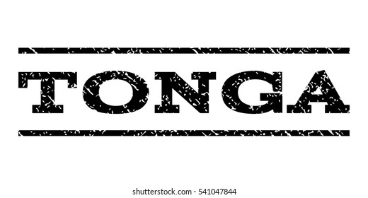 Tonga watermark stamp. Text tag between horizontal parallel lines with grunge design style. Rubber seal stamp with dirty texture. Vector black color ink imprint on a white background.