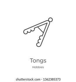 tongs icon. Element of hobbies collection for mobile concept and web apps icon. Outline, thin line tongs icon for website design and mobile, app development