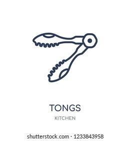 tongs icon. tongs linear symbol design from Kitchen collection. Simple outline element vector illustration on white background