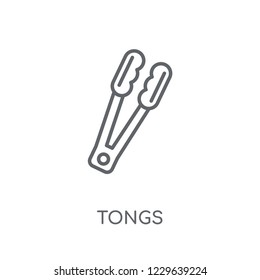 tongs linear icon. Modern outline tongs logo concept on white background from kitchen collection. Suitable for use on web apps, mobile apps and print media.