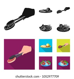 Tongs with steak, fried meat on a scoop, slicing lemon and olives, shish kebab on a plate with vegetables. Food and Cooking set collection icons in black,flat style vector symbol stock illustration