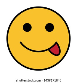 tongue out emoticon flat style vector