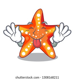 Tongue out underwater sea in the starfish mascot