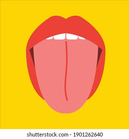 Tongue out vector. Sexy woman's Half-open mouth, licking, tongue sticking out, conversation. Isolated on color square