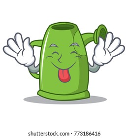Tongue out watering can character cartoon