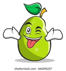 Tongue out with wink mango fruit character cartoon illustration