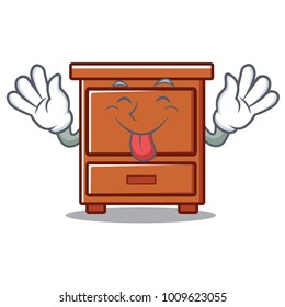 Tongue out wooden drawer mascot cartoon