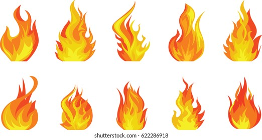 Tongues of fire isolated on white background (flame, heat, fire, burning) Isolated fire. Grunge texture on white background