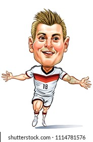 Toni Kroos is a German professional footballer who plays as a midfielder for Spanish club Real Madrid and the German national team. Vector,Caricature,Design,June, 17,2018