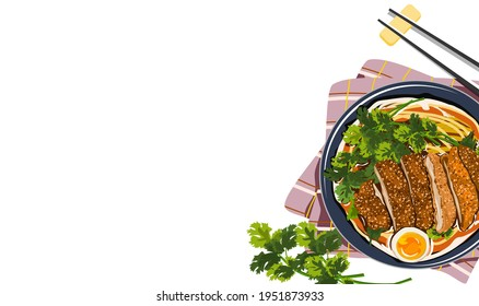 Tonkatsu Noodles. Noodles with fried chicken and egg. A bowl of Japanese ramen on plate mat and chopsticks. Realistic vector illustration on white background.
