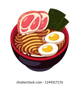 Tonkotsu Ramen noodle bowl topped with pork slices, egg and seaweed. Traditional Japanese cuisine dish. Cartoon vector illustration.