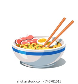 Tonkotsu ramen soup bowl with noodles, sliced chashu marinated braised pork, boiled eggs halves, chopsticks. Traditional Chinese & Japanese dish. Flat vector illustration isolated on white background.