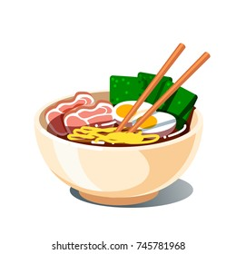 Tonkotsu ramen soup bowl with noodles, sliced chashu marinated braised pork, boiled eggs halves, spicy nori algae, chopsticks. Traditional Chinese & Japanese dish. Flat vector isolated illustration.