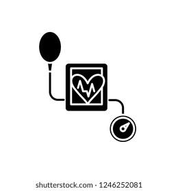 Tonometer black icon, vector sign on isolated background. Tonometer concept symbol, illustration
